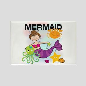 Brunette Mermaid Rectangle Magnet