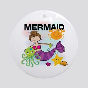 Brunette Mermaid Ornament (Round)