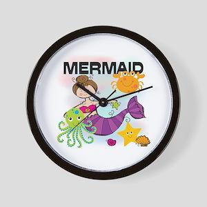 Brunette Mermaid Wall Clock