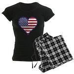 American Flag Heart Women's Dark Pajamas