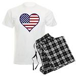 American Flag Heart Men's Light Pajamas
