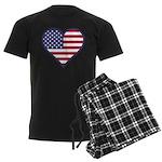 American Flag Heart Men's Dark Pajamas