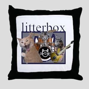 litterbox cat rock Throw Pillow