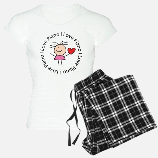 Cute I Love Piano Pajamas