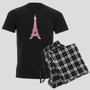 Pink Eiffel Tower Men's Dark Pajamas
