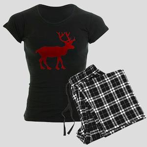 Red And White Reindeer Motif Women's Dark Pajamas
