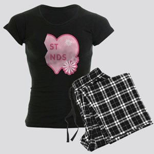 Pink Best Friends Heart Right Women's Dark Pajamas