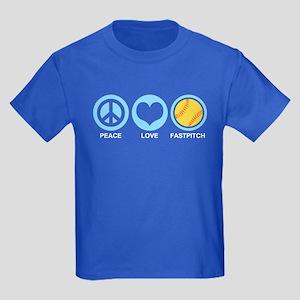 Peace Love Fastpitch Kids Dark T-Shirt