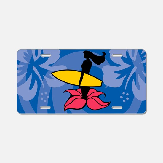 Surfing Wahine Aluminum License Plate