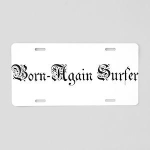 Born-Again Surfer Aluminum License Plate