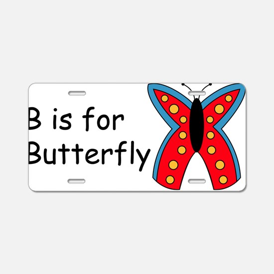 B is for Butterfly Aluminum License Plate