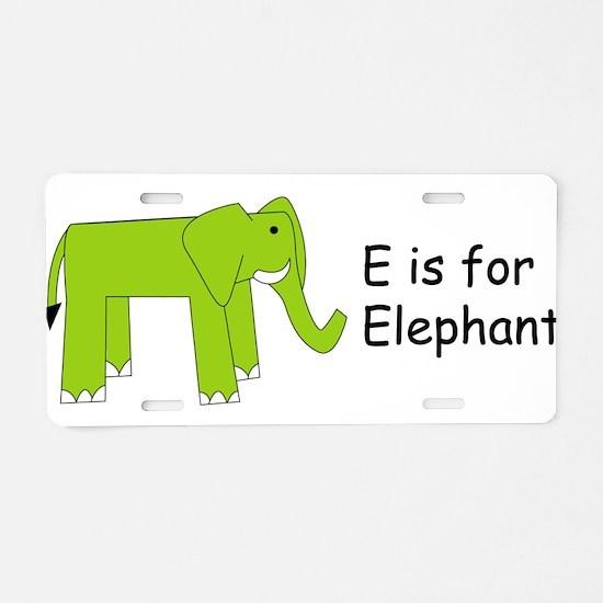 E is for Elephant Aluminum License Plate