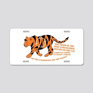 Tiger Facts Aluminum License Plate