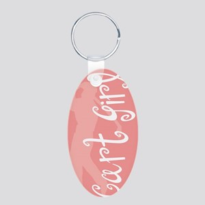 Cart Girl Aluminum Oval Keychain