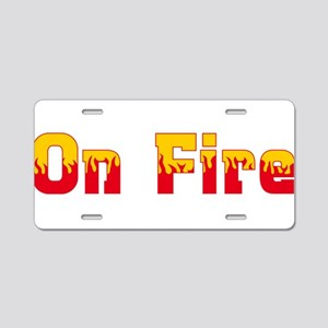 On Fire Aluminum License Plate