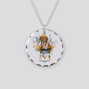 Immaculate Heart of Mary Necklace Circle Charm