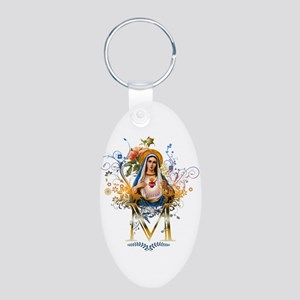 Immaculate Heart of Mary Aluminum Oval Keychain