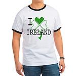 I love Ireland Shamrock Ringer T