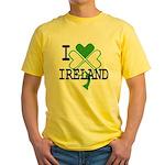 I love Ireland Shamrock Yellow T-Shirt