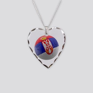 Serbia World Cup Ball Necklace Heart Charm
