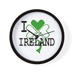 I love Ireland Shamrock Wall Clock