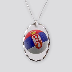 Serbia World Cup Ball Necklace Oval Charm