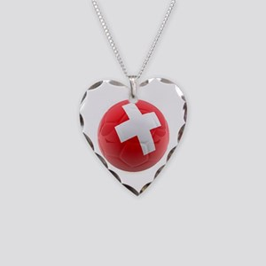 Switzerland World Cup Ball Necklace Heart Charm