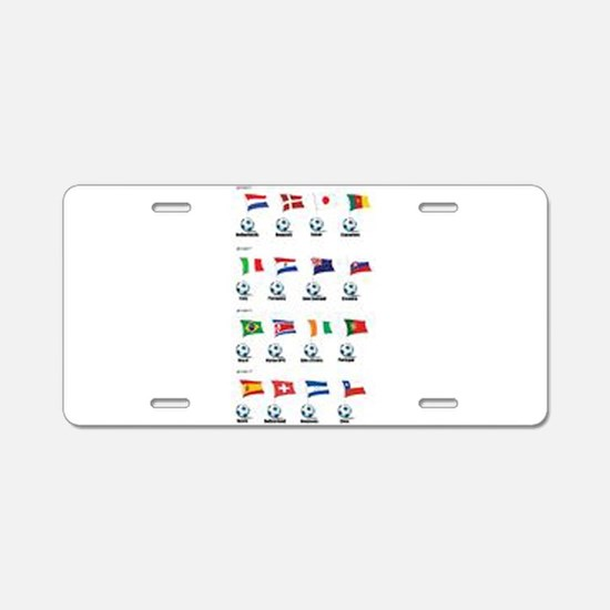 Soccer Balls and Flags Aluminum License Plate