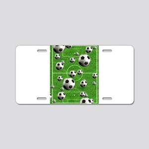 World Cup Balls over Field Aluminum License Plate