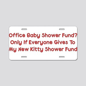 Kitty Shower Fund Aluminum License Plate