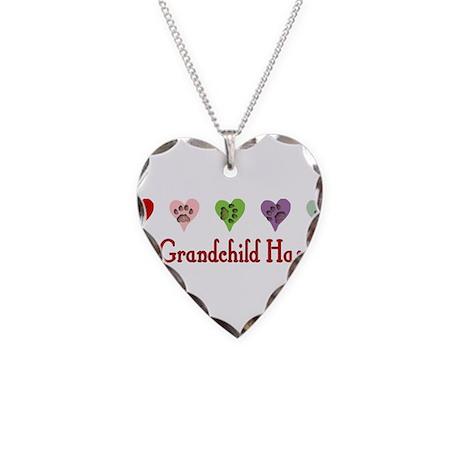 Furry Grandchild Necklace Heart Charm