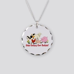 Stop Eating Our Babies Necklace Circle Charm