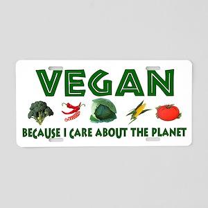 Vegans Care About Planet Aluminum License Plate