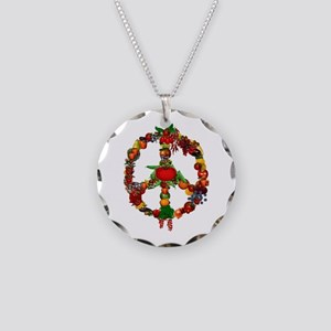 Veggie Peace Sign Necklace Circle Charm