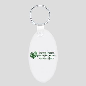 Godless Heathen For Peace Aluminum Oval Keychain