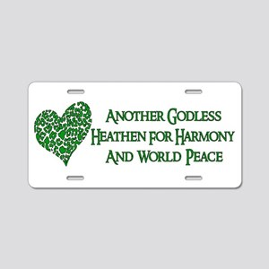 Godless Heathen For Peace Aluminum License Plate