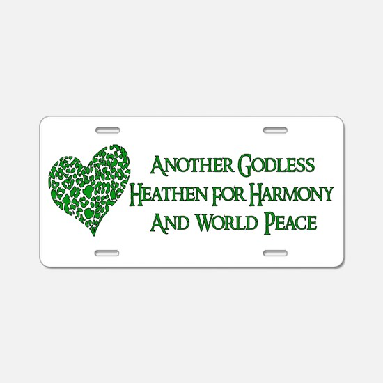 Godless For World Peace Aluminum License Plate