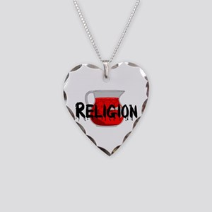 Religion Brainwashing Drink Necklace Heart Charm