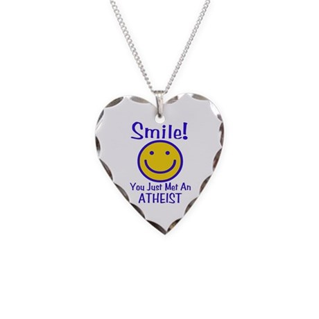 Atheist Smiley Face Necklace Heart Charm
