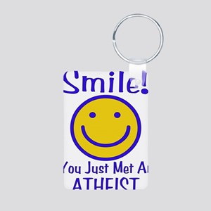 Atheist Smiley Aluminum Photo Keychain