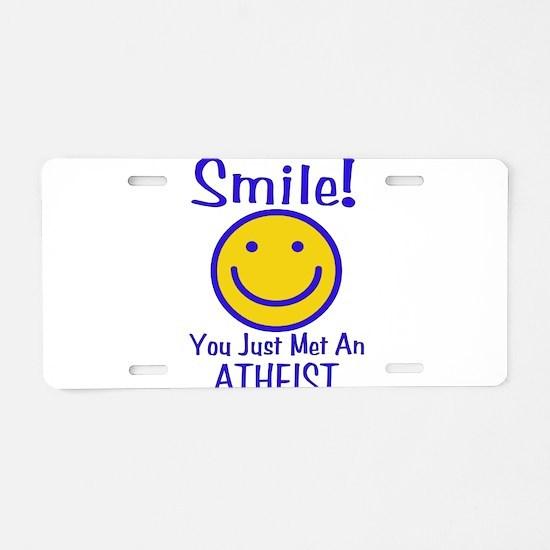 Atheist Smiley Aluminum License Plate
