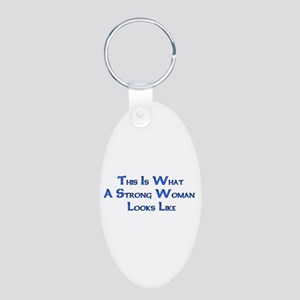 Strong Woman Example Aluminum Oval Keychain