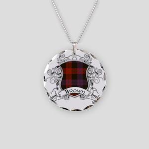 Brown Tartan Shield Necklace Circle Charm