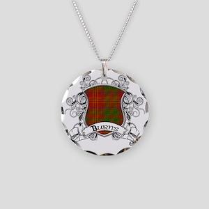 Burns Tartan Shield Necklace Circle Charm