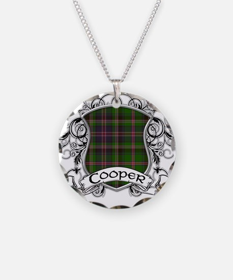 Cooper Tartan Shield Necklace Circle Charm