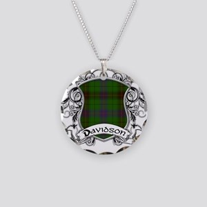 Davidson Tartan Shield Necklace Circle Charm
