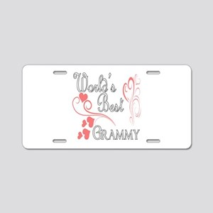 Best Grammy (Pink Hearts) Aluminum License Plate