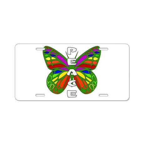 Peace Butterfly Aluminum License Plate
