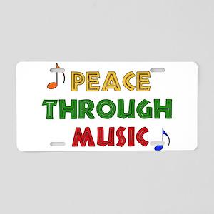 Peace Through Music Aluminum License Plate