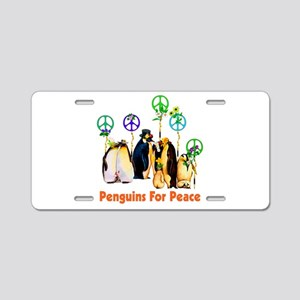 Penguins For Peace Aluminum License Plate